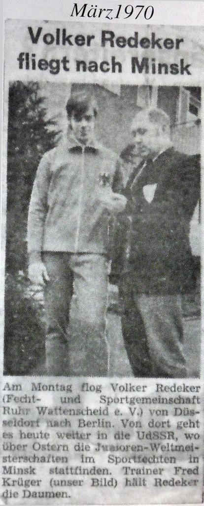 Am Montag flog Volker Redeker (Fecht- und Sportgemeinschaft Ruhr Wattenscheid e.V.) von Düsseldorf nach Berlin. Von dort geht es heute weiter in die UdSSR, wo über Ostern die Junioren-Weltmeisterschaften stattfinden. Trainer Fred Krüger (unser Bild) hält Redeker die Daumen.
